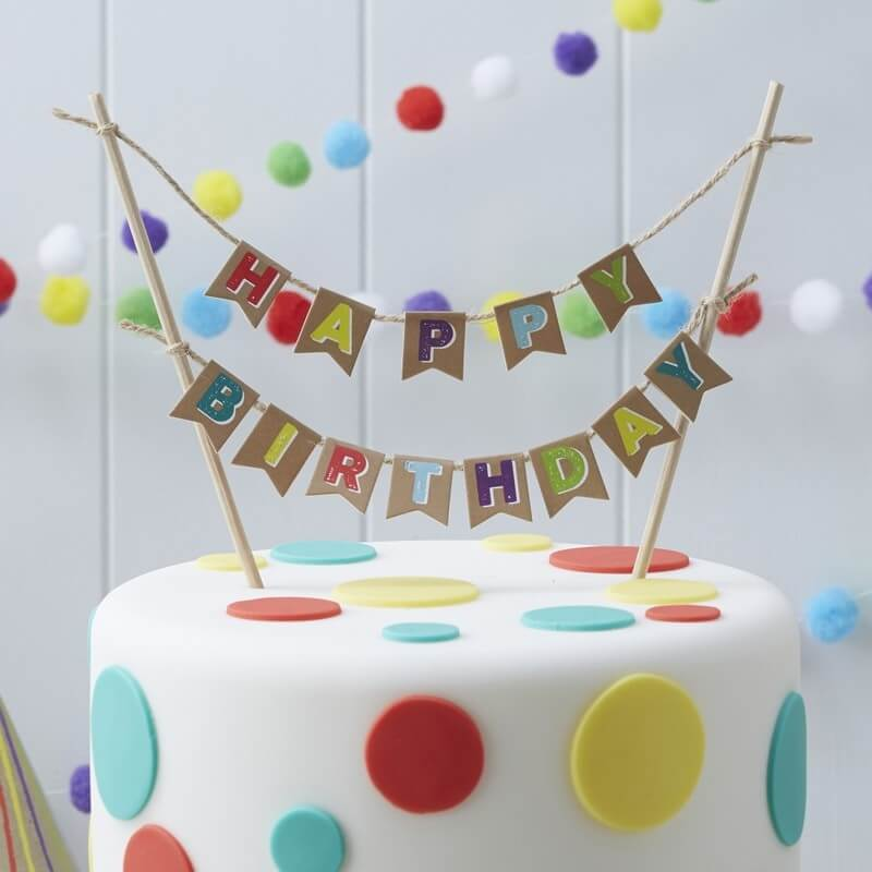 Cake Topper Happy Birthday, bunte Wimpel