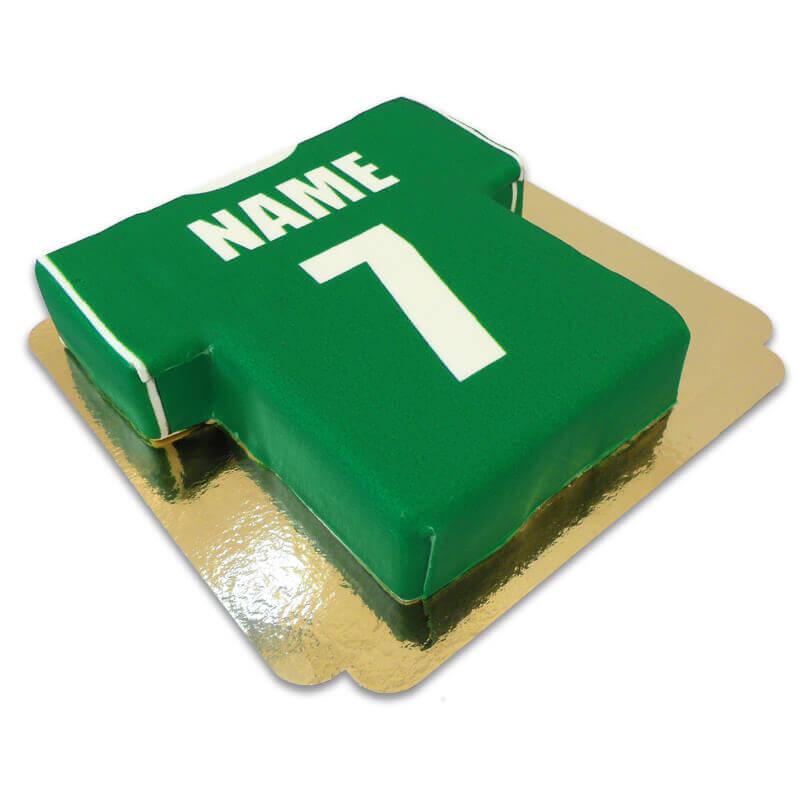 Fußballtrikot Torte, grün mit weiß