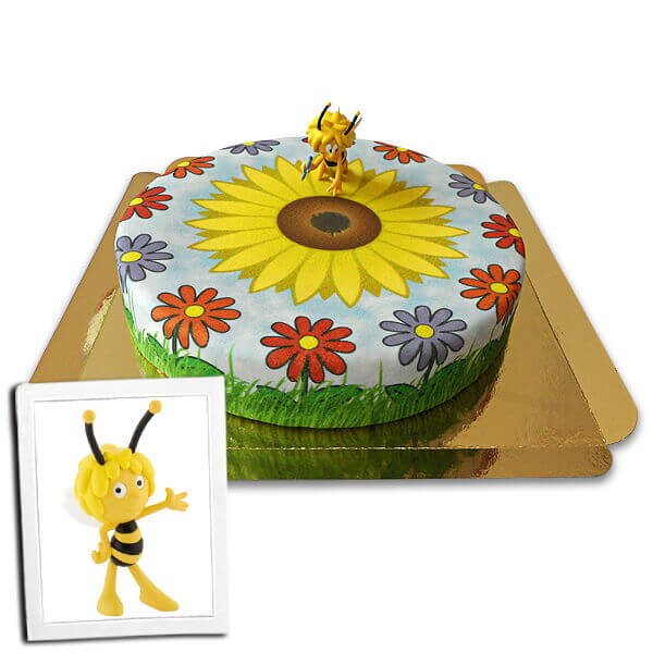 Biene Maja auf Sonnenblumen Torte