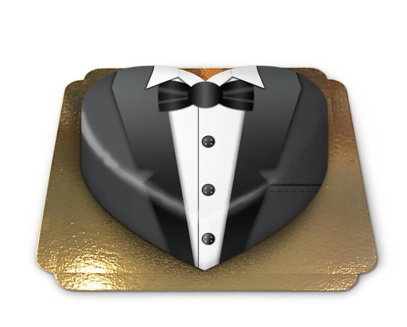 Schwarze Bräutigam Torte in Herzform