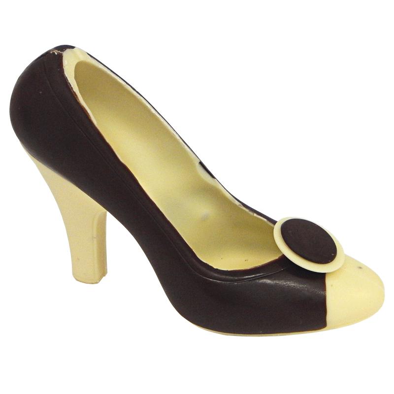 Schwarzer Schokoladen Schuh mit weißen Highlights