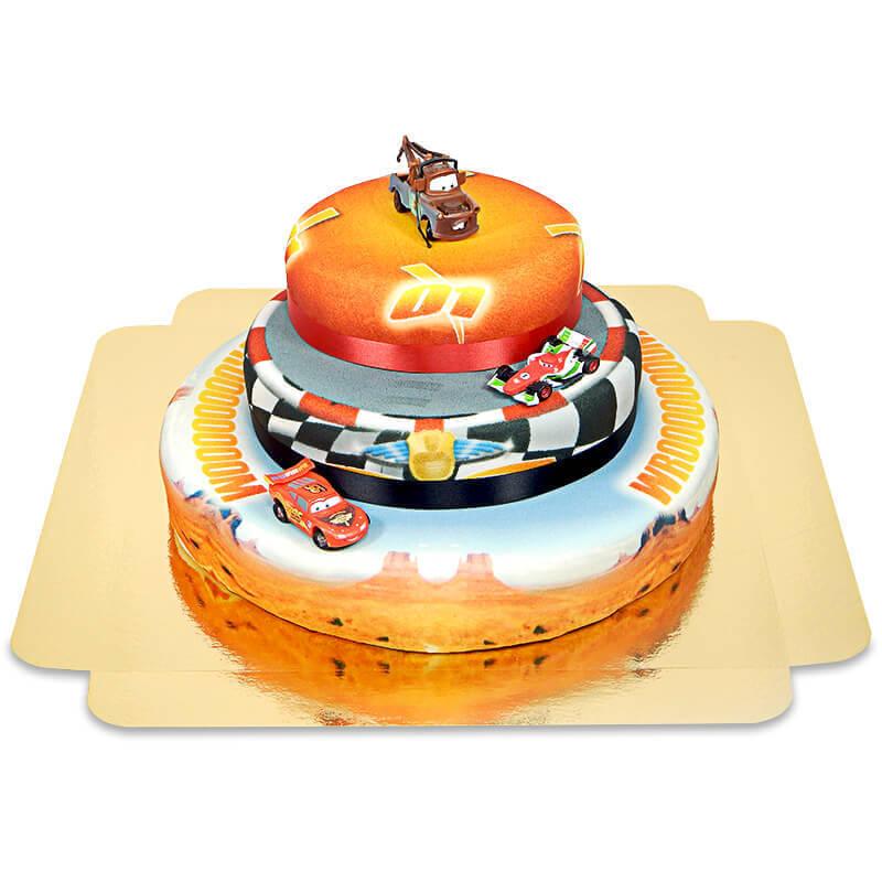 Cars 3 Lightning McQueen, Francesco Bernoulli und Hook auf dreistöckiger Rennstrecken Torte mit Band
