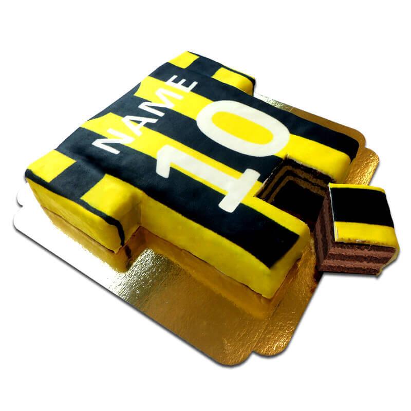 Fußballtrikot Torte, schwarz gelb