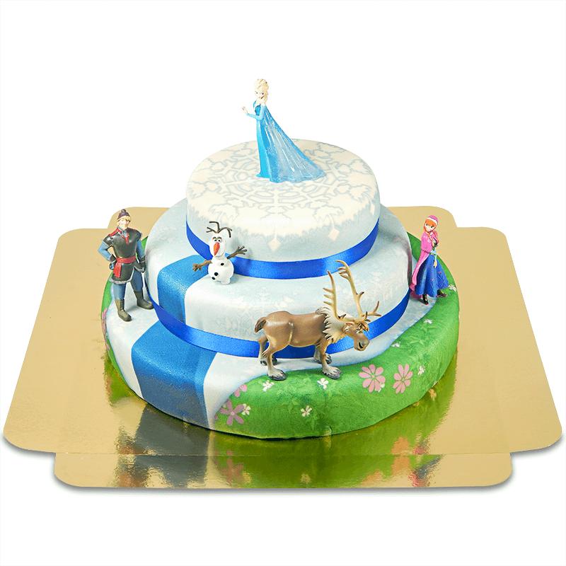 Eiskönigin 3 Eiskönigin Elsa, Anna und Gefährten auf 3 stöckiger Torte