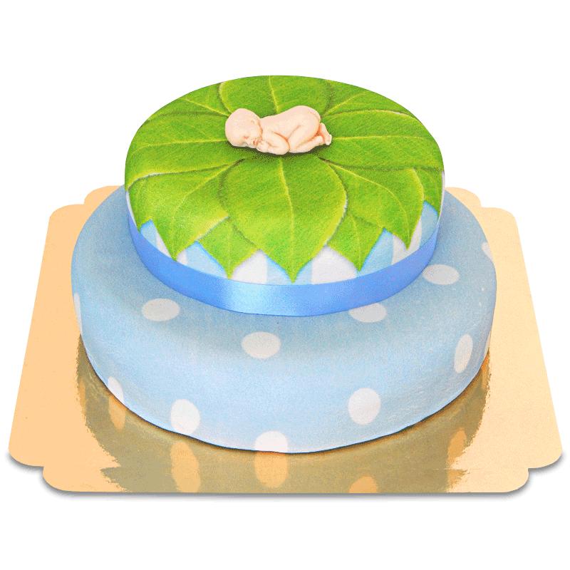 Baby Figur auf 2 stöckiger Torte, blau
