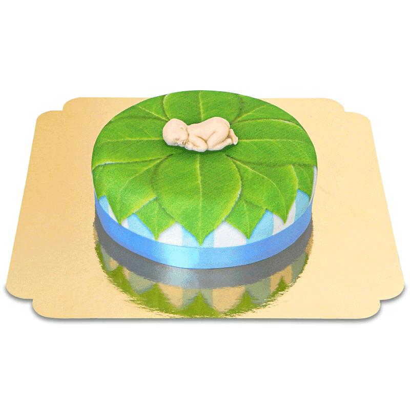 Baby Figur auf Natur Torte, blau 18cm rund
