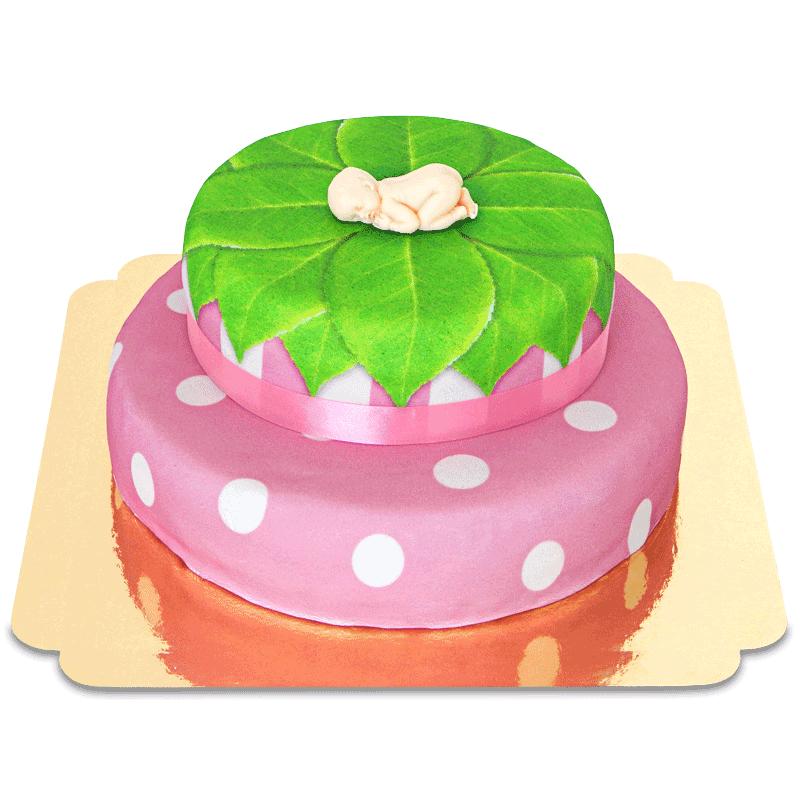 Baby Figur auf 2 stöckiger Torte, pink
