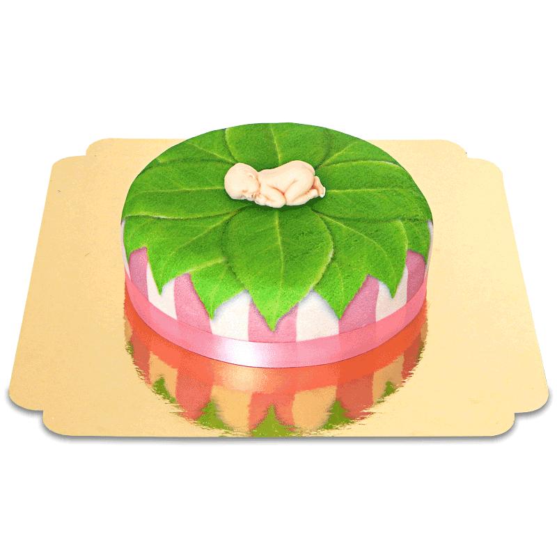 Baby Figur auf Natur Torte, pink 18cm rund