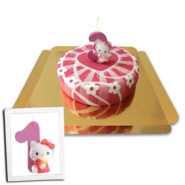 Hello Kitty Kerze auf rosa Herzen Torte