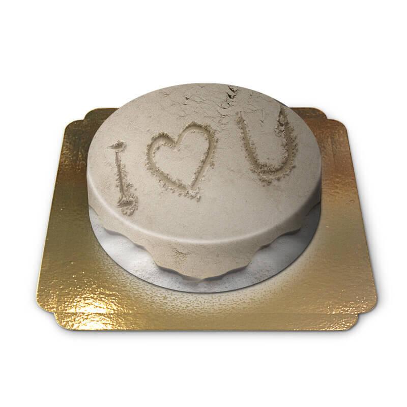 Ich liebe dich auf dem strand Torte