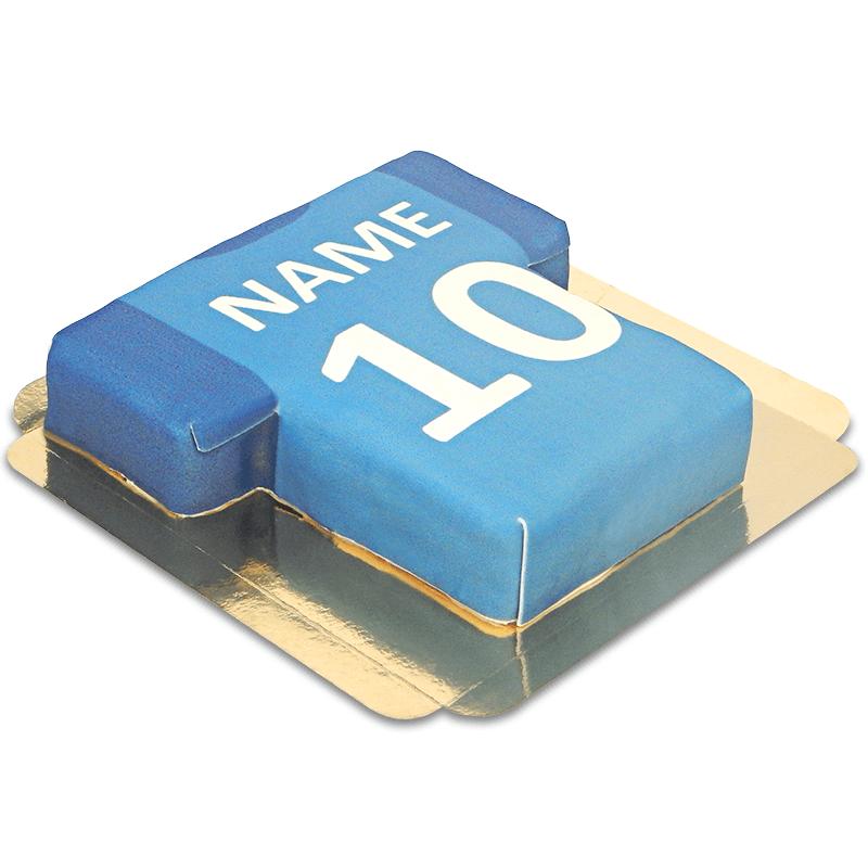Fußballtrikot Torte, blau mit dunkelblauen Ärmeln