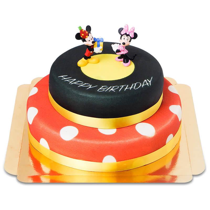 Micky und Minni auf zweistöckiger Geburtstagstorte
