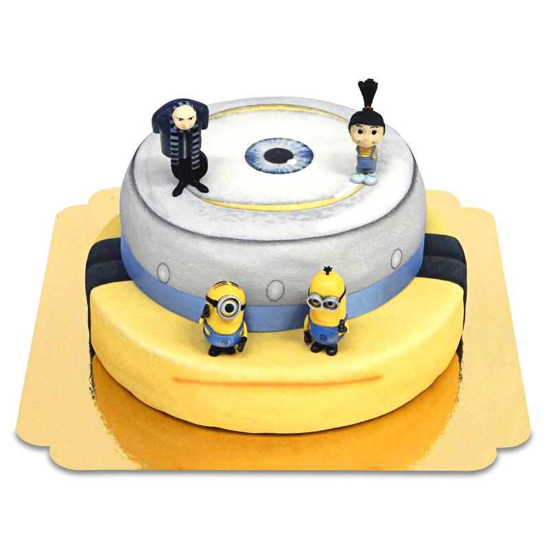 Minions, Agnes und Gru auf zweistöckiger Torte