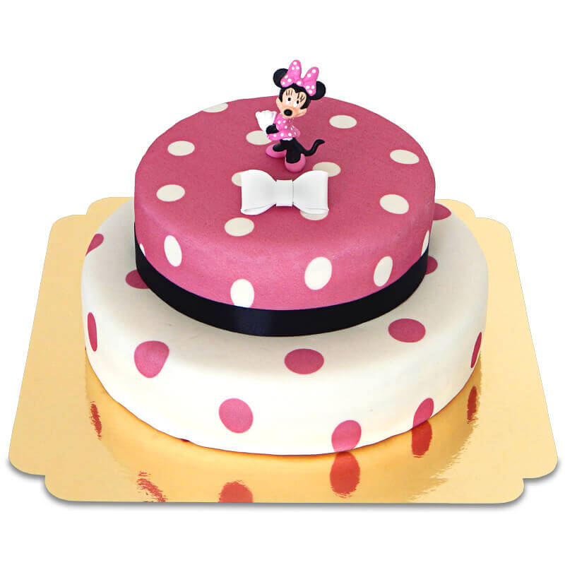 Minnie Maus auf 2 stöckiger Punkte Torte