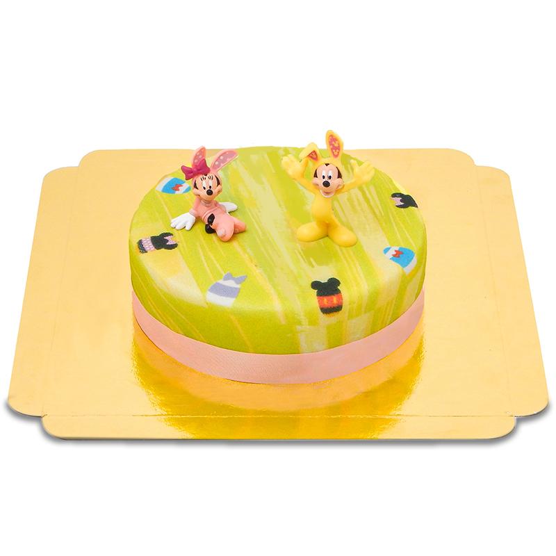 Micky und Minnie Maus auf grüner Oster Torte