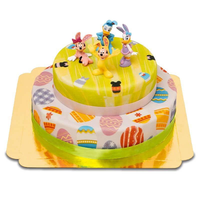 Disney Figuren auf zweistöckiger Oster Torte
