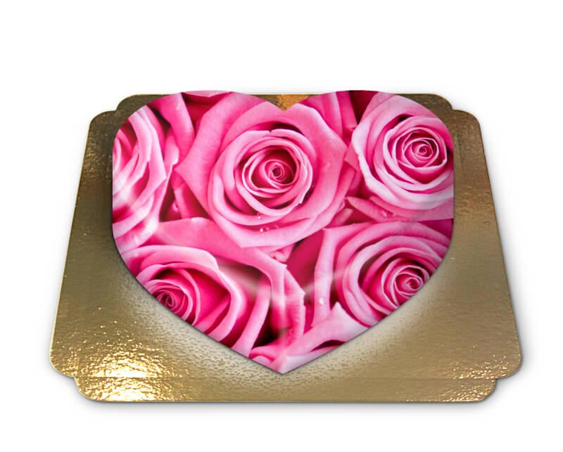 Pinke Rosen Torte in Herzform