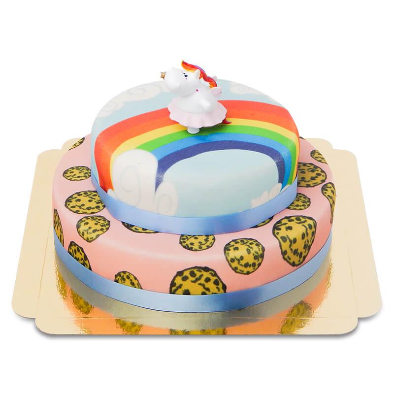 Pummeleinhorn auf zweistöckiger Kekse-Torte