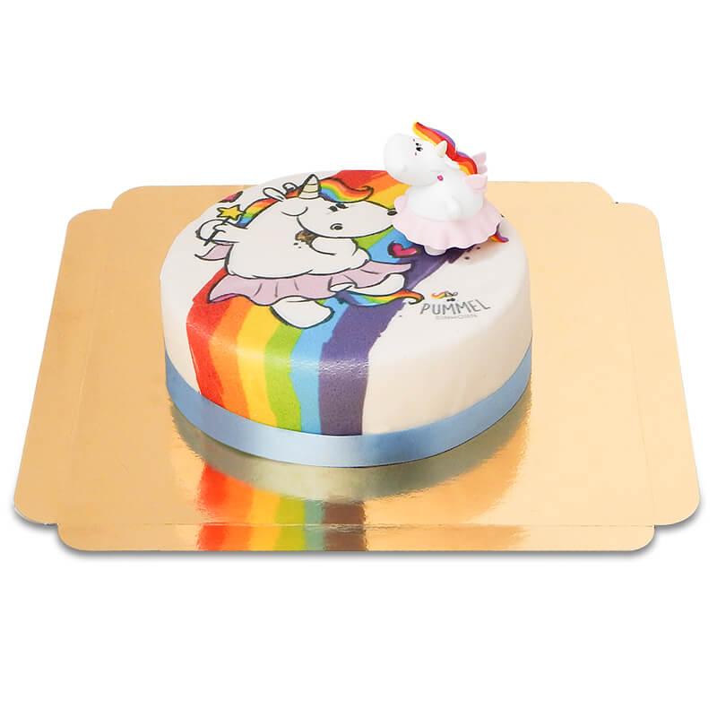 Pummeleinhorn auf Regenbogen Torte