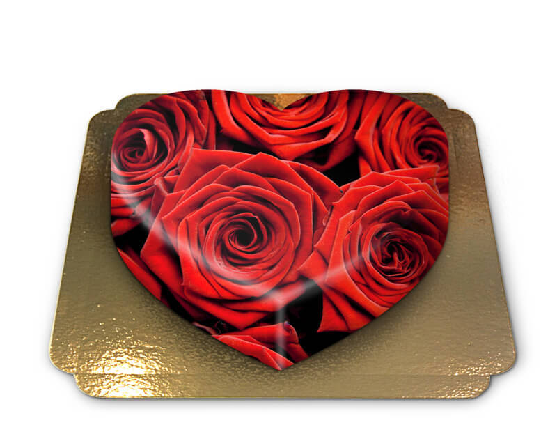 Rote Rosen Torte in Herzform