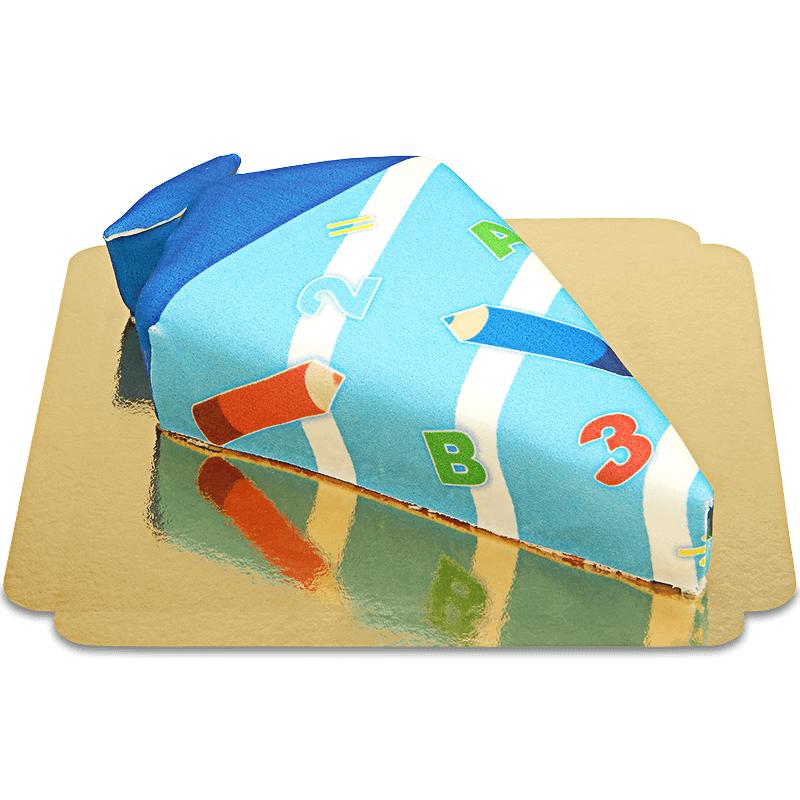 Schultüten Torte mit Stiften in Hellblau