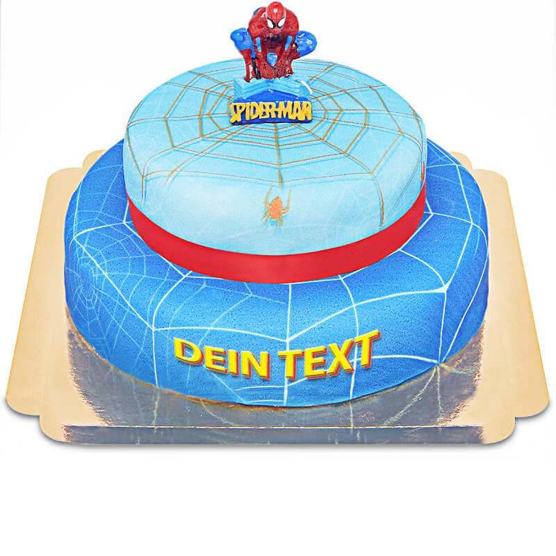 Spider Man auf zweistöckiger Spinnennetz Torte mit Band