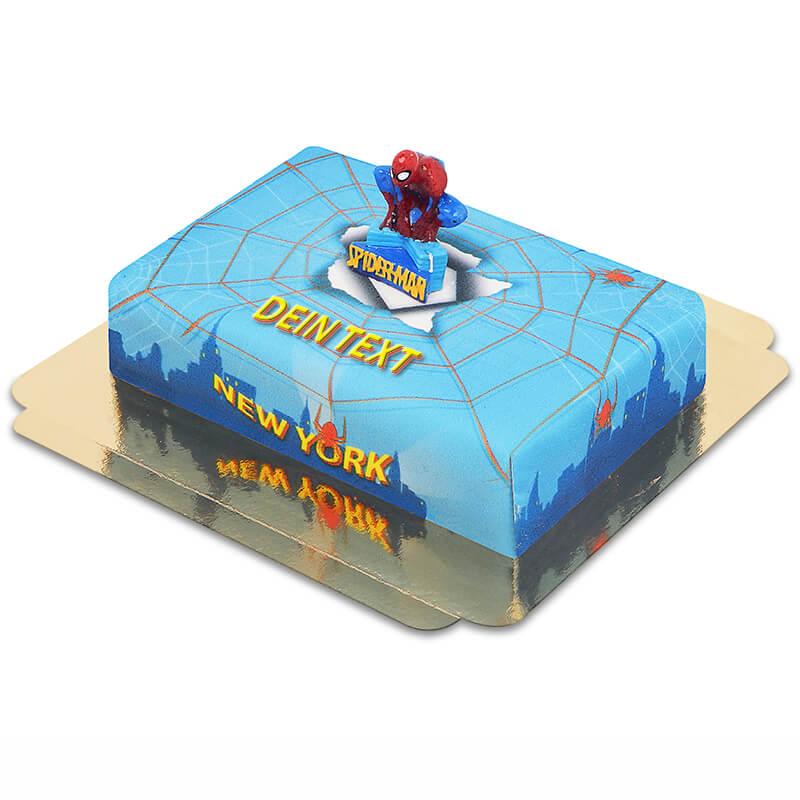 Spider Man auf Spinnennetz über New York Torte