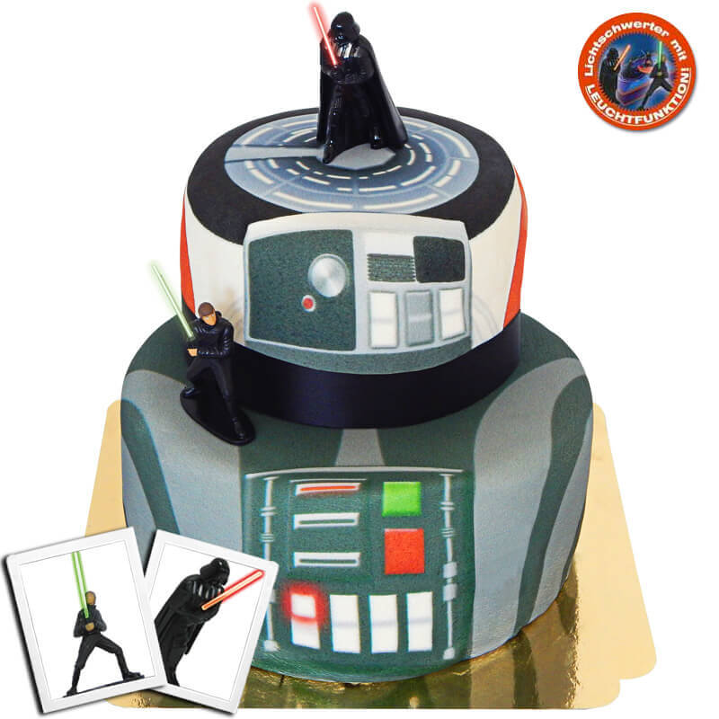 Star Wars Luke Skywalker Darth Vader auf zweistöckiger Raumstation Torte