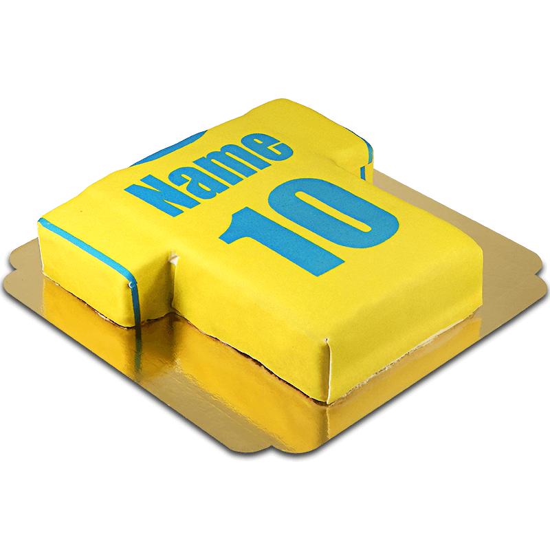 Fußballtrikot Torte, gelb mit blau