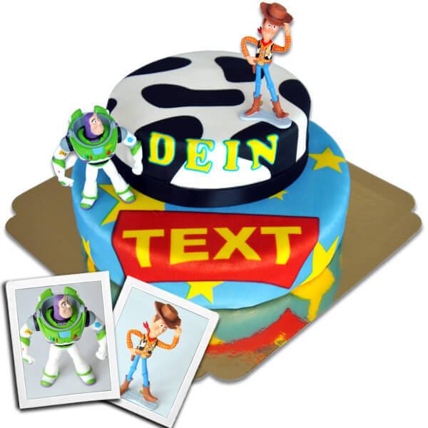 Cowboy Woody Buzz Lightyear auf zweistöckiger Torte mit Band