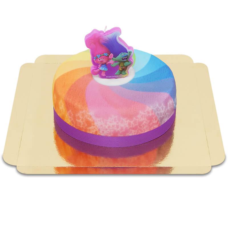 Trolls auf Regenbogen Torte