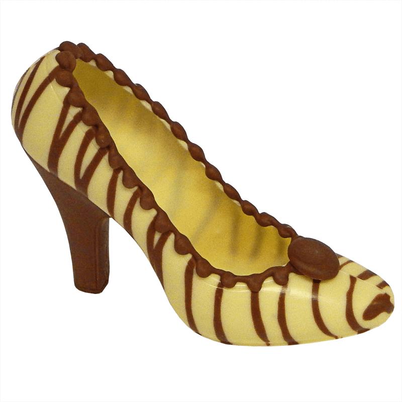 Weißer Schokoladen Schuh mit braunen Streifen