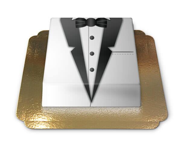 Bräutigam Torte schwarz weißer Smoking
