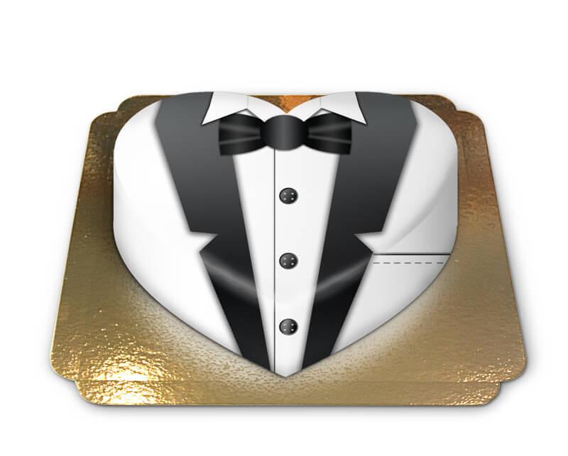 Weiße Bräutigam Torte in Herzform