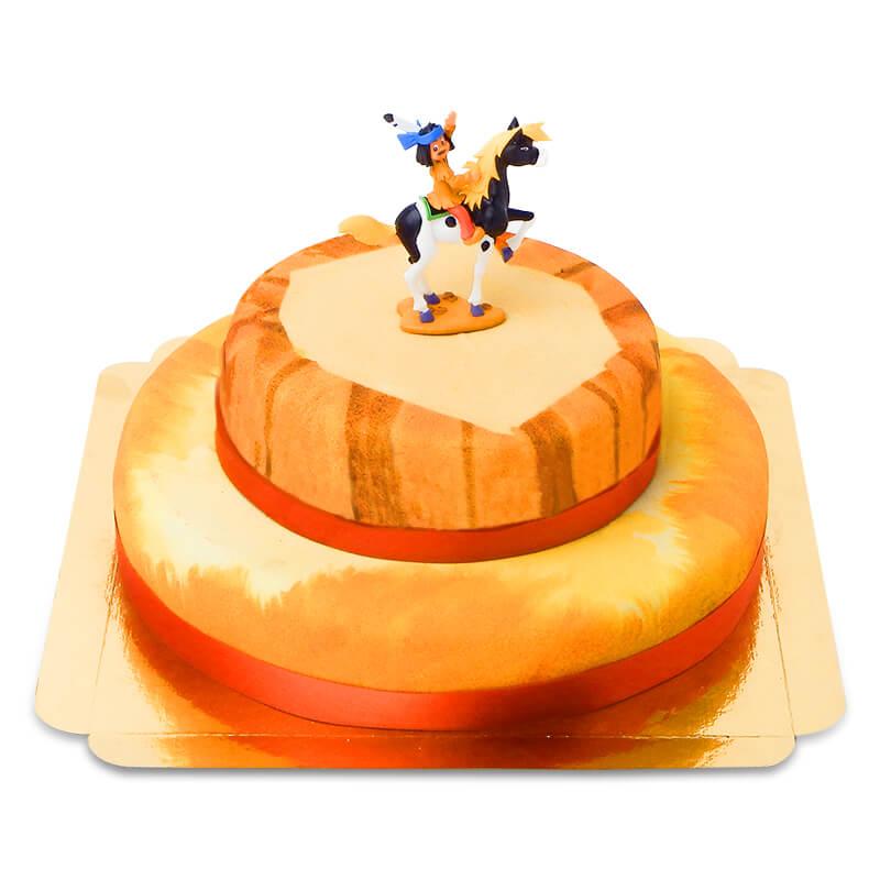 Yakari Figur auf zweistöckiger Prärie Torte