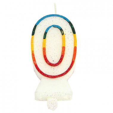 Bunte Zahlen-Kerze 0, ca.7,5 cm