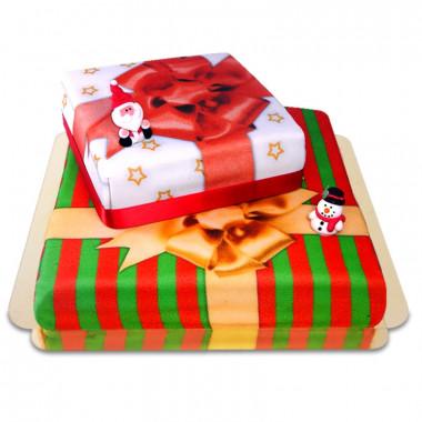 2-Stöckige Weihnachtsgeschenk-Torte mit Weihnachtsmann- & Schneemann-Figuren