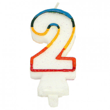 Bunte Zahlen-Kerze 2, ca.7,5 cm