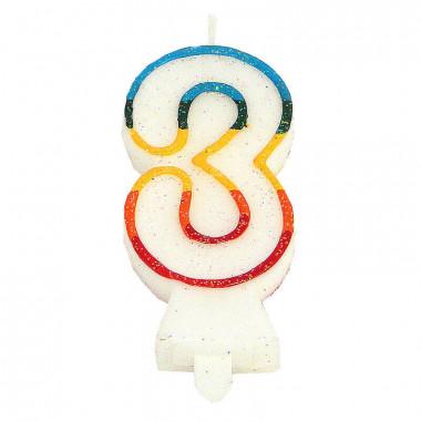 Bunte Zahlen-Kerze 3, ca.7,5 cm