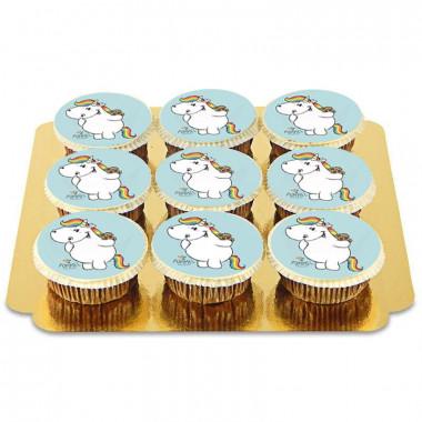 9 Blaue Pummeleinhorn-Cupcakes