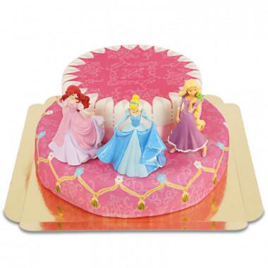 3 Prinzessinnen auf zweistöckiger Torte mit Band