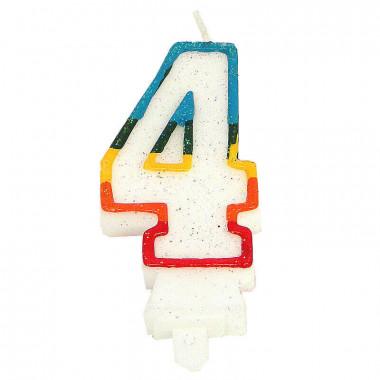 Bunte Zahlen-Kerze 4, ca.7,5 cm