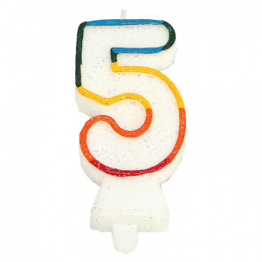 Bunte Zahlen-Kerze 5, ca.7,5 cm