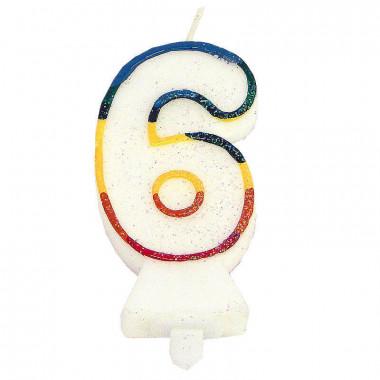 Bunte Zahlen-Kerze 6, ca.7,5 cm
