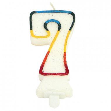Bunte Zahlen-Kerze 7, ca.7,5 cm