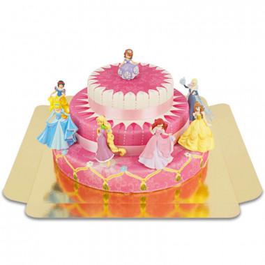 7 Prinzessinnen auf dreistöckiger Torte mit Bändern