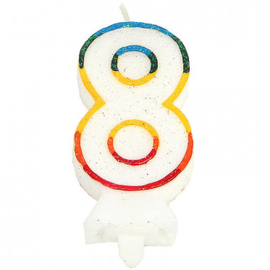 Bunte Zahlen-Kerze 8, ca.7,5 cm