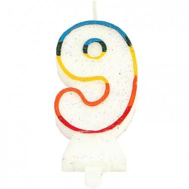Bunte Zahlen-Kerze 9, ca.7,5 cm