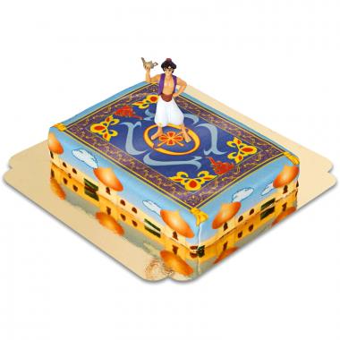 Aladdin auf Teppich über Agrabah-Torte