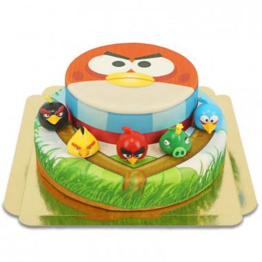 Angry Birds auf zweistöckiger Torte